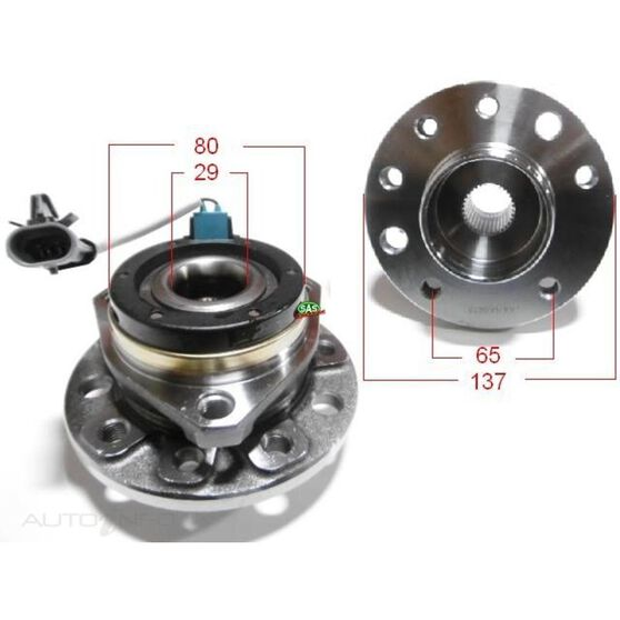 Holden Astra TS 98- Front Hubs ABS, , scanz_hi-res
