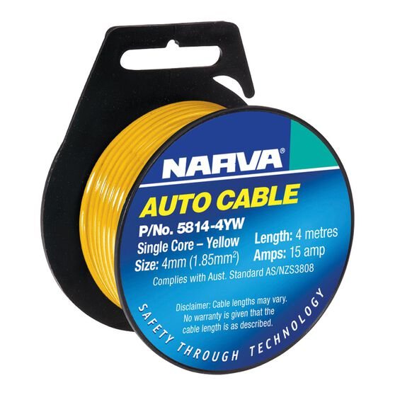 CABLE SINGLE CORE 4mm 4M YELLOW