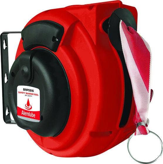 ALEMLUBE SAFETY BARRIER REEL 16M RED/WHITE W/HOOK & EYE, , scanz_hi-res