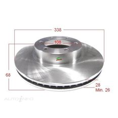 Rotor 338x68x28  L/Cruiser 120 Series, 02-09, Hilux GGN2* 05-11 Front  Rotor, , scanz_hi-res