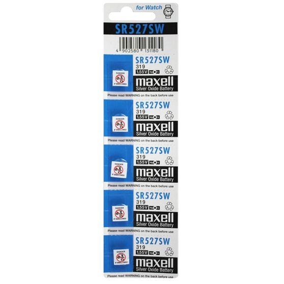 MAXELL SILVER OXIDE SR527SW WATCH BATTERY BUTTON CELL 5 PACK, , scanz_hi-res