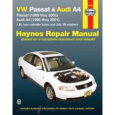 VW PASSAT 1998 THRU 2005 AND AUDI A4 1996 THRU 2001 HAYNES REPAIR MANUAL FOR MODELS WITH 1.8L FOUR-CYLINDER TURBO AND 2.8L V6 ENGINES. DOES NOT INCLUDE DIESEL ENGINE, W8 ENGINE OR S4 MODEL INFORMATION., , scanz_hi-res