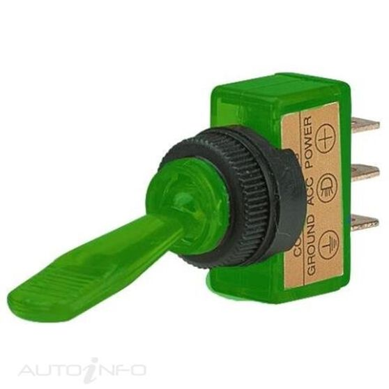 SWITCH TOGGLE ON/OFF GREEN 12V