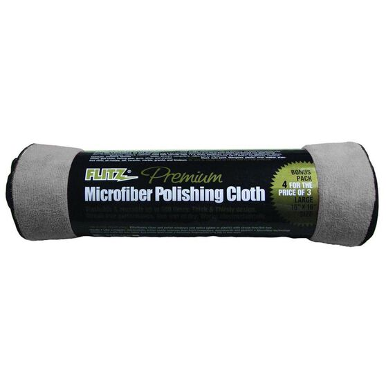 FLITZ MICROFIBRE POLISHING CLOTH 4 PACK GREY 16 x 16 INCHES, , scanz_hi-res