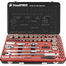 ToolPro Socket Set - 1 / 2 inch Drive, Metric / Imperial, 60 Piece, , scanz_hi-res