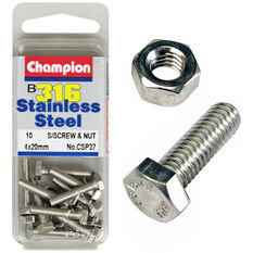 Champion Screws and Nuts - 4mm X 20mm, , scanz_hi-res