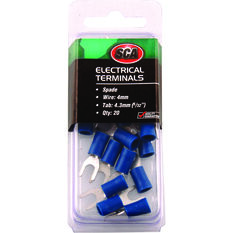 Electrical Terminals - Spade, Blue, 4.3mm, 20 Pack, , scanz_hi-res