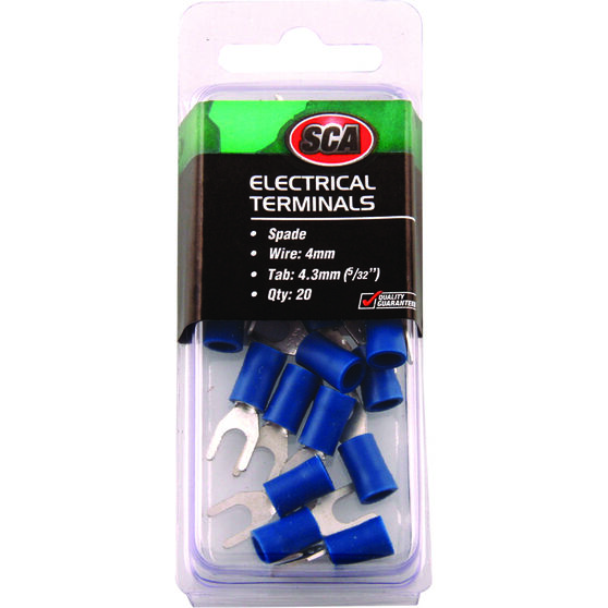SCA Electrical Terminals - Spade, Blue, 4.3mm, 20 Pack, , scanz_hi-res