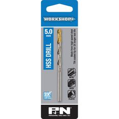 P&N Workshop Drill Bit HSS - Tin Tipped, 5.0mm, , scanz_hi-res