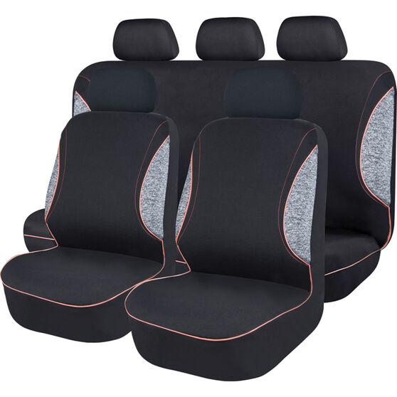 SCA Sports Piping Seat Cover Pack - Black, Grey and Pink, Adjustable Headrests, Size 30 Front Pair Airbag Compatible, , scanz_hi-res