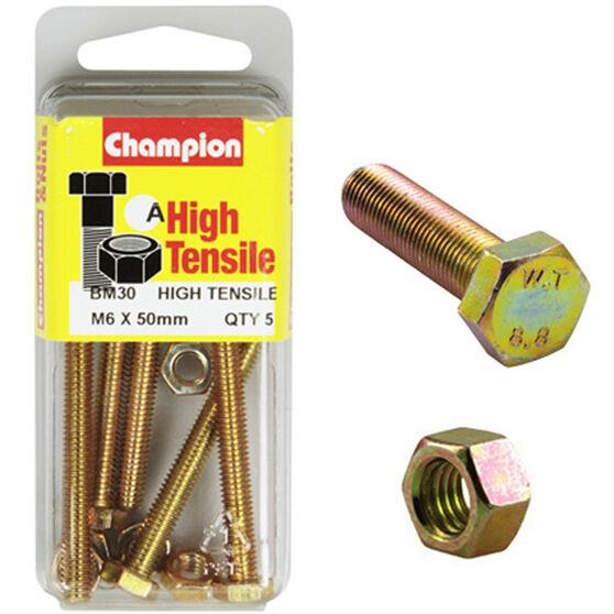 Champion High Tensile Bolts and Nuts - M6 X 50, , scanz_hi-res
