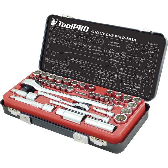 "ToolPRO Socket Set - 1/4"" and 1/2"" Drive, Metric & Imperial, 40 Piece, , scanz_hi-res"