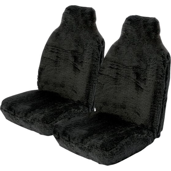 SCA Comfort Fur Seat Covers - Black, Built-in Headrests, Size 60, Front Pair, Airbag Compatible, , scanz_hi-res