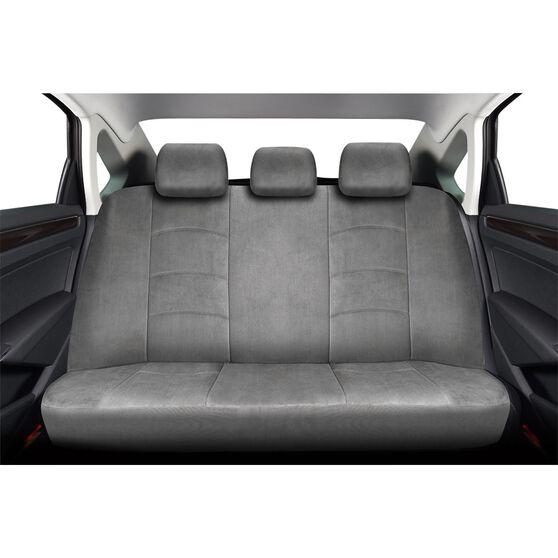 Premium Suede Seat Covers - Grey, Adjustable Headrests, Size 06H, Rear Seat, , scanz_hi-res