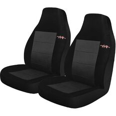 Cord Seat Covers - Grey, Built-in Headrests, Size 60, Front Pair, Airbag Compatible, , scanz_hi-res