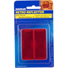 Narva Reflector - Red, 70 x 28mm, Rectangle, 2 Pack, , scanz_hi-res