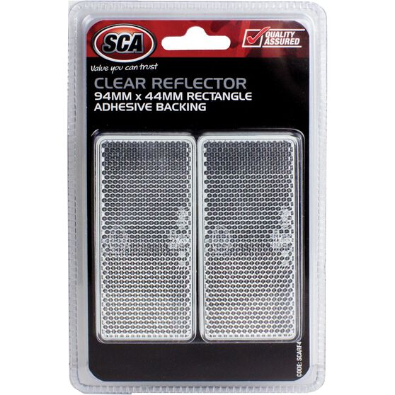 SCA Reflector - Clear, 94 x 44mm, Rectangle, 2 Pack, , scanz_hi-res