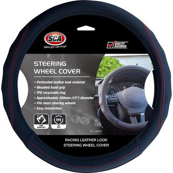 SCA Steering Wheel Cover - PU Racing, Black / Red, 380mm diameter, , scanz_hi-res