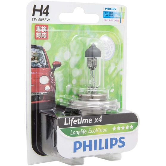 Philips LongLife EcoVision H4 Headlight Globe 12V 60/55W, , scanz_hi-res