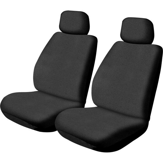 Canvas Seat Covers - Black, Adjustable Headrests, Size 30, Front Pair, Airbag Compatible, , scanz_hi-res