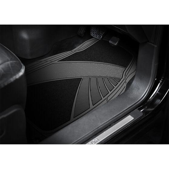 Armor All Combination Car Floor Mats Carpet/PVC Black Set of 4, , scanz_hi-res