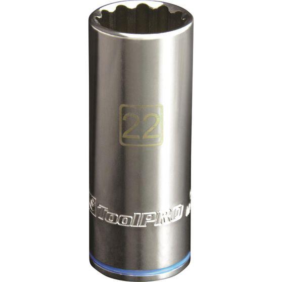 ToolPro Single Socket - Deep, 1 / 2 inch Drive, 22mm, , scanz_hi-res