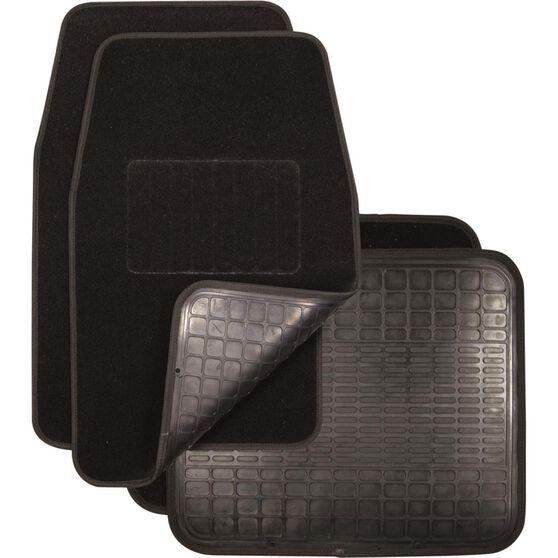 SCA Reversible Car Floor Mats - Carpet / Rubber, Black, Set of 4, , scanz_hi-res