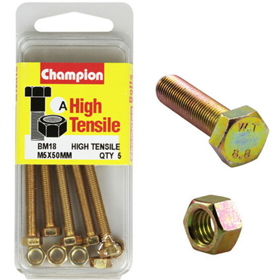 Champion High Tensile Bolts and Nuts - M5 X 50, , scanz_hi-res