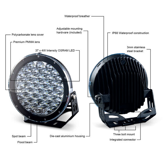 Ridge Ryder 224mm LED Driving Lights 135W with harness, , scanz_hi-res