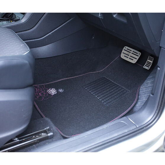 SCA Rose Floor Mats - Carpet, Black / Pink, Set of 4, , scanz_hi-res