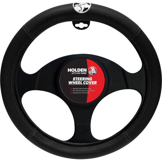 Holden Steering Wheel Cover - Leather Look, Black, 395mm diameter, , scanz_hi-res