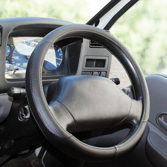 SCA Steering Wheel Cover - Leather Look, Black, 430mm diameter, , scanz_hi-res
