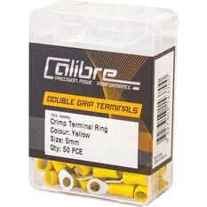Crimp Terminal Ring Yellow 5mm 50Pk, , scanz_hi-res