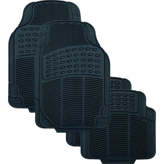 SCA Defend Car Floor Mats - Rubber, Black, Set of 4, , scanz_hi-res