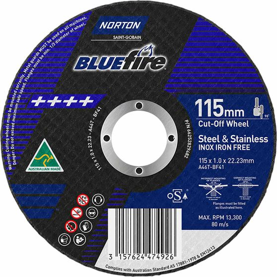 Norton Metal Cut off Disc - 115mm x 1.0mm x 22mm, , scanz_hi-res