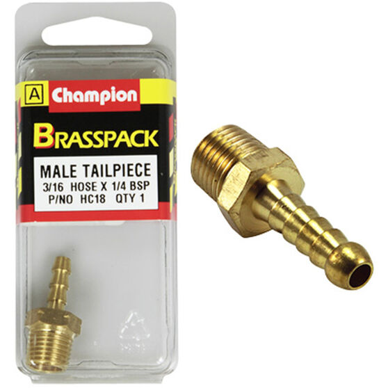 Champion Male Hose Barb - 3 / 16inch X 1 / 4inch, Brass, , scanz_hi-res