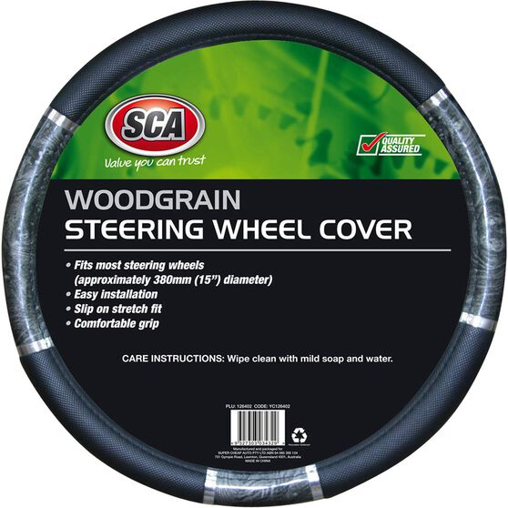 SCA Steering Wheel Cover - Chrome and Wood Look, Charcoal, 380mm diameter, , scanz_hi-res