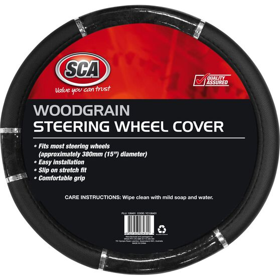 SCA Steering Wheel Cover - Chrome and Wood Look, Black, 380mm diameter, , scanz_hi-res