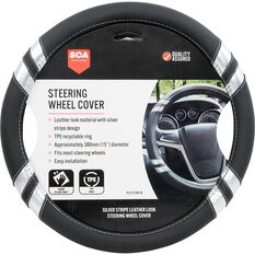 SCA Steering Wheel Cover - Leather Look, Black and Silver, 380mm diameter, , scanz_hi-res