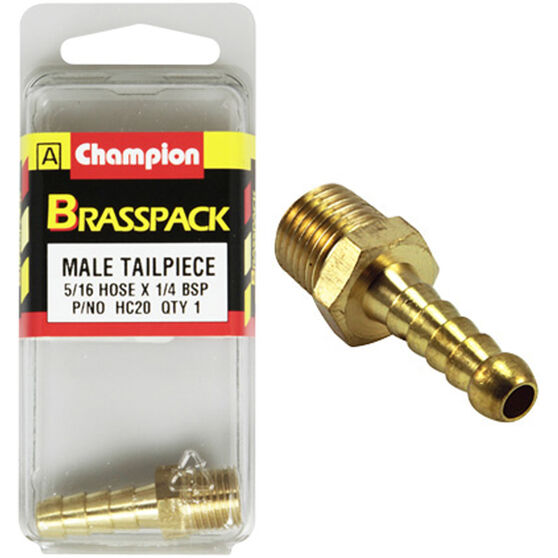Champion Male Hose Barb - 5 / 16inch X 1 / 4inch, Brass, , scanz_hi-res