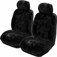 Platinum Cloud Sheepskin Seat Covers - Black Adjustable Headrests Size 30 Front Pair Airbag Compatible Black, Black, scanz_hi-res