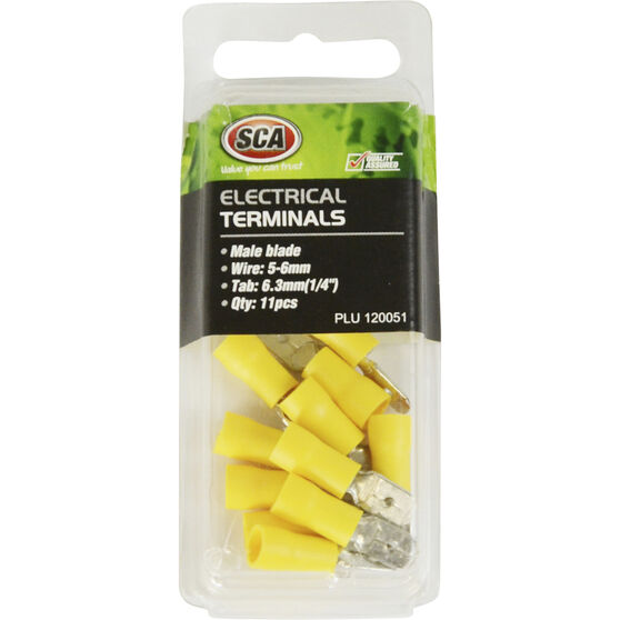 SCA Electrical Terminals - Male Blade, Yellow, 6.3mm, 11 Pack, , scanz_hi-res