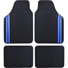 SCA Racing Car Floor Mat - Carpet, Black / Blue, Set of 4, , scanz_hi-res