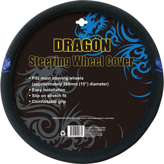Dragon Steering Wheel Cover - Brushed Polyester, Blue, 380mm diameter, , scanz_hi-res