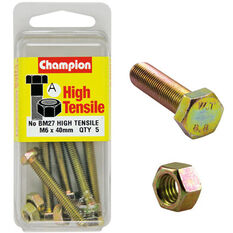 Champion High Tensile Bolts and Nuts - M6 X 40, , scanz_hi-res