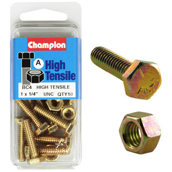 Champion High TensileBolts and Nuts - UNC 1inch X 1 / 4inch, , scanz_hi-res