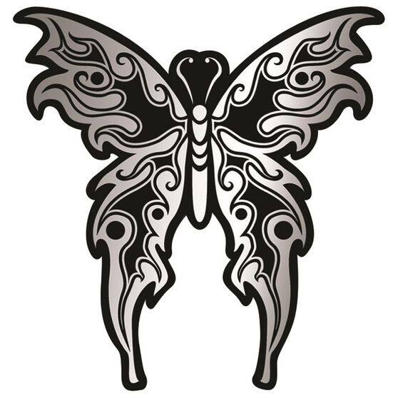 Hot Stuff Sticker - Tribal Butterfly, Chrome, , scanz_hi-res