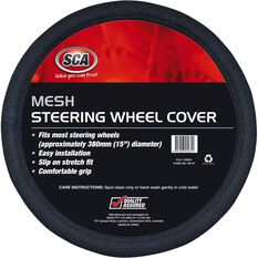 SCA Steering Wheel Cover - Mesh, Black, 380mm diameter, , scanz_hi-res