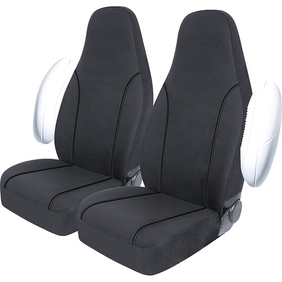 SCA Canvas Seat Covers - Charcoal/Grey, Built-In Headrests, Size 60, Front Pair, Airbag Compatible, , scanz_hi-res