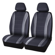 SCA Carbon Fibre Leather Look Seat Covers - Black, Adjustable Headrest, Airbag Compatible, , scanz_hi-res